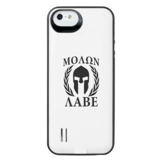 Molon Labe Kriegers-Lorbeer auf schwarzem iPhone SE/5/5s Batterie Hülle