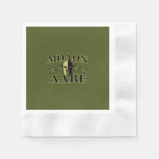 Molon Labe spartanisches 5 Sterne Olivgrün Servietten