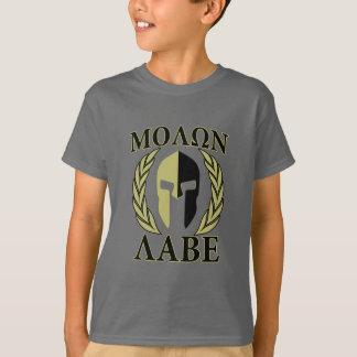 Molon Labe spartanisches Masken-Lorbeer-Olivgrün T-Shirt