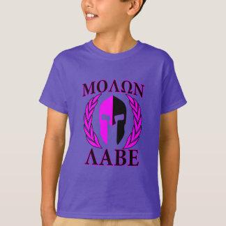 Molon Labe spartanisches Sturzhelm-Lorbeer-Pink T-Shirt