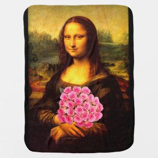 Mona Lisa mit Blumenstrauß der rosa Rosen Babydecke