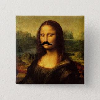 Mona Lisa mit dem Schnurrbart Quadratischer Button 5,1 Cm