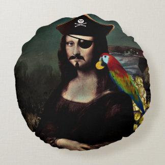 Mona Lisa Pirat mit dem Schnurrbart Rundes Kissen