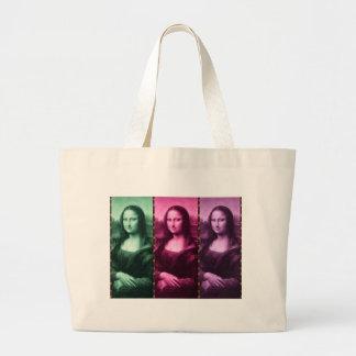 Mona Lisa Tierdruck-Grün-Rosa lila Jumbo Stoffbeutel