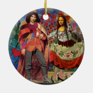 Mona Lisa wunderlich Rundes Keramik Ornament