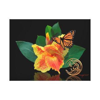 Monarch-Schmetterling und Canna Lilie auf Leinwand