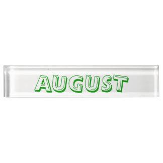 Monat des August-Schreibtisches Namplate durch