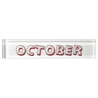 Monat des Oktober-Schreibtisch-Nummernschildes