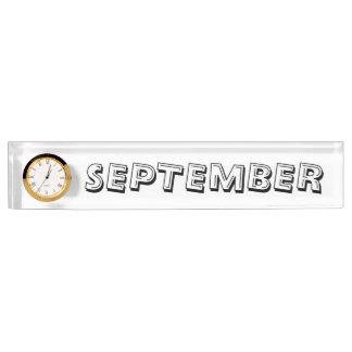 Monat des September-Schreibtisch-Nummernschildes