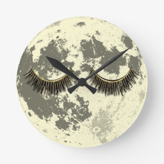 Mond-Goldpeitschen-SchlafenVollmond Runde Wanduhr