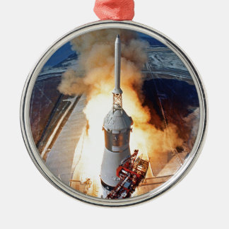 Mond-Landungs-Rocket-Produkteinführung der NASAs Rundes Silberfarbenes Ornament
