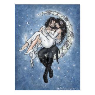 Mond-Reiter-romantische Liebe-Postkarte Postkarte