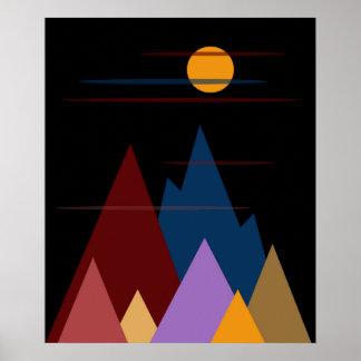 Mond über den Bergen #3 Poster
