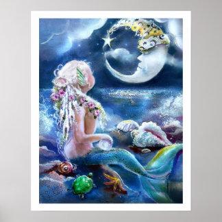 Mond-und Meerjungfrau-Plakat Poster