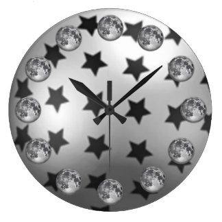 Mond- und Stern-Wanduhr Große Wanduhr