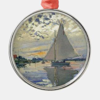 Monet Boots-Wasser Segeln in Rundes Silberfarbenes Ornament
