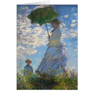 Monet die Promenaden-Frau mit einem Sonnenschirm Karte