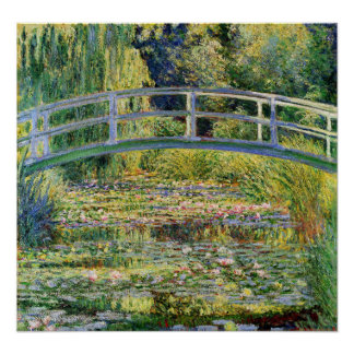 Monet japanische Brücke mit Wasser-Lilien-Plakat Poster