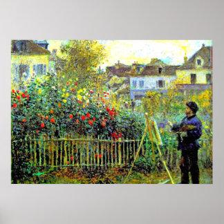 Monet Malerei in seinem Garten in Argenteuil Poster