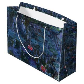 Monet Wasser-Lilien und Reflexionen einer Weide Große Geschenktüte