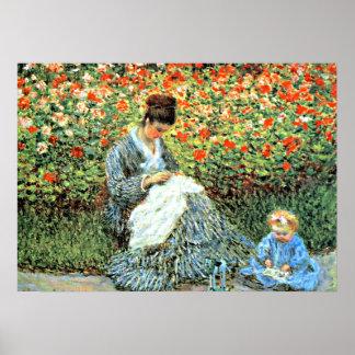 Monets berühmte Malerei: Camille Monet und Kind Poster