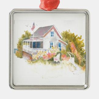 Monhegan Hütte J Kilburn Quadratisches Silberfarbenes Ornament