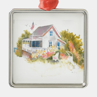 Monhegan Hütte J Kilburn Silbernes Ornament
