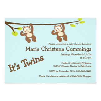Monkeying herum paart Babyparty-Einladung Karte
