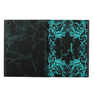 Monogramm-Aqua-Blau-Damast
