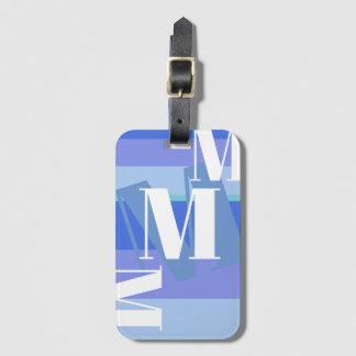 Monogramm auf Blau Gepäckanhänger