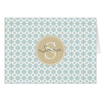 Monogramm-Batik Retro Notecards Karte
