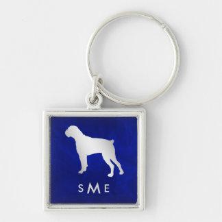 Monogramm-blauer silberner Boxer-Hund Schlüsselanhänger