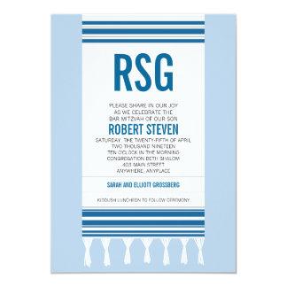 Monogramm blaues Tallit Bar Mitzvah 12,7 X 17,8 Cm Einladungskarte