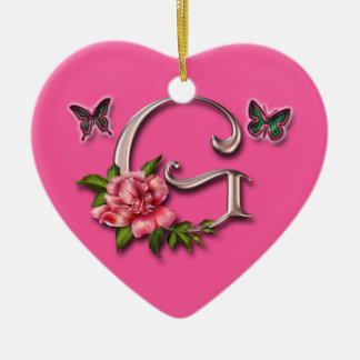 MONOGRAMM-BUCHSTABE G - HERZ-VERZIERUNG KERAMIK Herz-Ornament