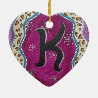 Monogramm-Buchstabe K Keramik Herz-Ornament