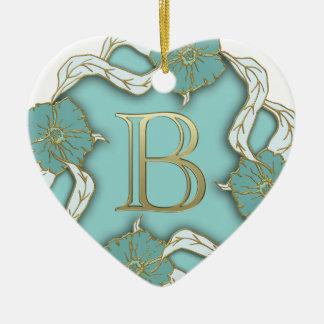 Monogramm des Alphabetes b Keramik Herz-Ornament