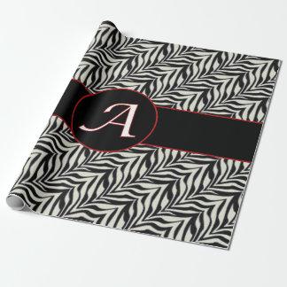 Monogramm ein Schwarz-weißes eingestuftes Geschenkpapier