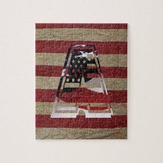 Monogramm eine USA-Flaggen-amerikanische Initiale Puzzle