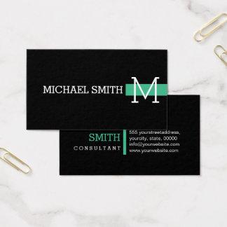 Monogramm-einfache schwarze moderne Minze #2 Visitenkarte