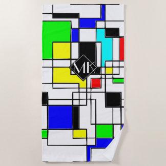 Monogramm-gelegentliche Quadrate Mondrian Art Strandtuch