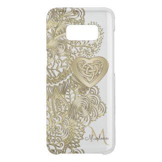 Monogramm-Goldspitze und keltisches Herz Get Uncommon Samsung Galaxy S8 Hülle