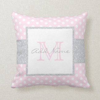 Monogramm-graues rosa Tupfen-Baby-Kissen Kissen