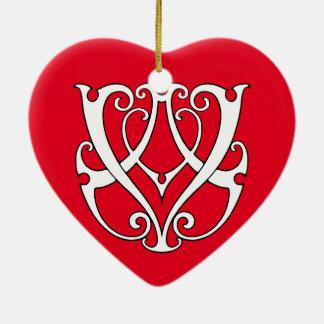 Monogramm Handels/VA Keramik Herz-Ornament