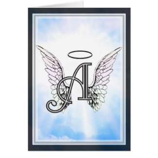 Monogramm-Initiale A, Engels-Flügel u. Halo mit Karte