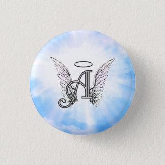 Monogramm-Initiale A, Engels-Flügel u. Halo mit Runder Button 3,2 Cm