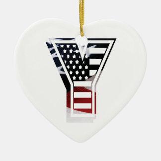 Monogramm-Initiale des Buchstabe-Y patriotische Keramik Ornament