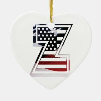 Monogramm-Initiale des Buchstabe-Z patriotische Keramik Ornament