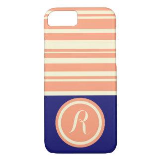 Monogramm korallenroter blauer gestreifter iPhone iPhone 8/7 Hülle