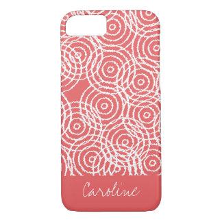 Monogramm korallenrotes rosa Ikat kreist iPhone 8/7 Hülle