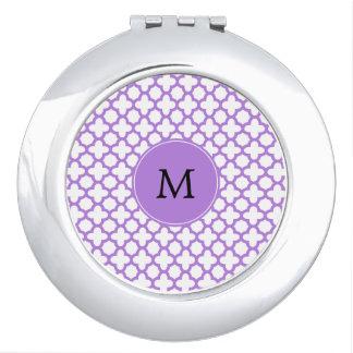 Monogramm-Lavendel Quatrefoil Muster Taschenspiegel